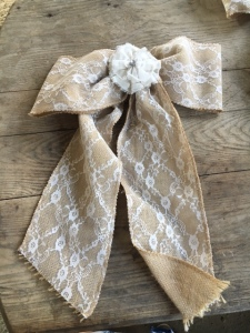 Large Burlap & Lace Bows with Cream Flower
